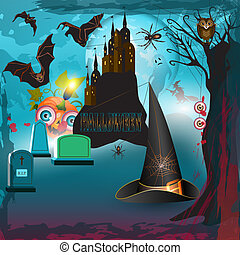 Scary halloween with castle