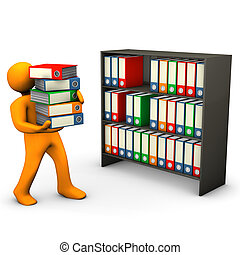 Classification - Orange cartoon character assorts folders in...