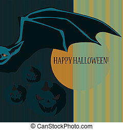 Halloween with bat and pumpkins. Can be used as card,...