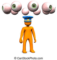 Observation - Orange cartoon characters with police cap and...