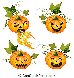 Halloween pumpkin set on white background
