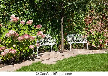 White Garden benches