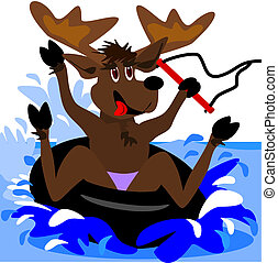 Inner tubing moose - A cartoon moose is out on the water,...
