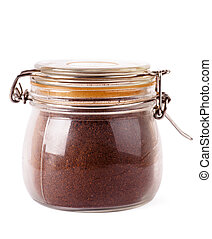 Jar with coffee - Glass jar with grinded coffee isoalted...