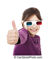 Girl with 3D glasses - Beautiful little girl wearing 3d...