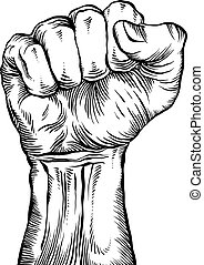 A clenched fist. - A clenched fist held high in protest.