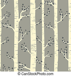 Birch Forest Background - Seamless pattern with birch trees