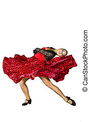 young dancer dances in a red dress - a young dancer dances...