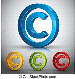 Copyright symbol. - Copyright symbol 3d vector sign.