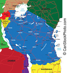 Tanzania map - Detailed vector map of Tanzania with country...