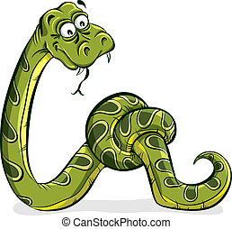 Green snake cartoon tied up - Green snake cartoon tied up in...
