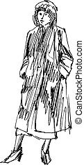 Retro dressed woman - Retro dressed woman ink sketch auto...