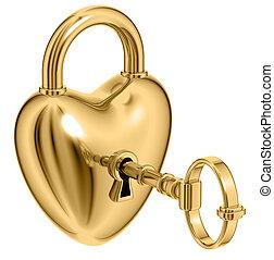 Lock formed as heart. - Lock formed as heart with a golden...
