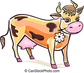 Vector Cow - Smiling cow isolated on white background