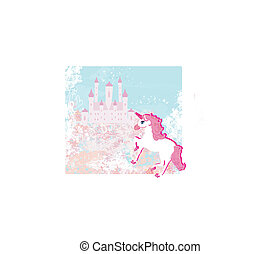 Fairytale landscape with pink magic castle and unicorn
