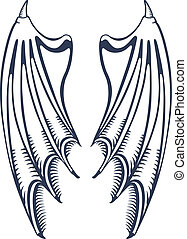 Devils wings - Vector illustration of devils wings isolated...