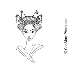 Abstract Beautiful geisha doodle Portrait