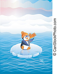 Penguin on ice floes - Winter picture. The penguin on an ice...