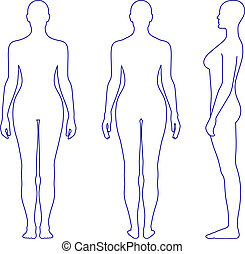 Naked standing woman silhouette - Full length front, back,...