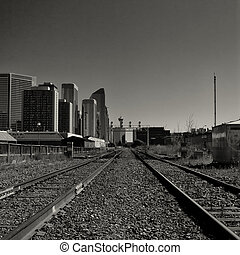Calgary Cityscape viewed from Train - Black and white...