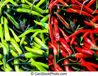 Red and Green Chili Pepers Backgrou