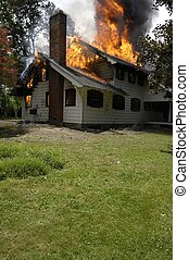 House Fire - Fire Department house demolition burning for...