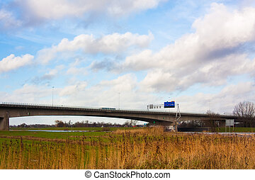 A28 highway crossing the river Ijssel at Zwolle in The...
