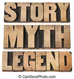 story, myth, legend - storytelling concept - isolated words...