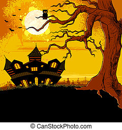 Haunted House - illustration of abandoned haunted house in...