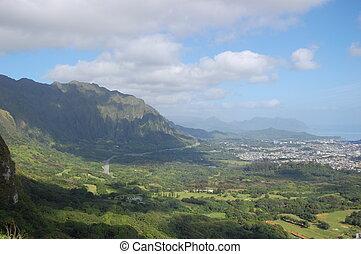 View from the Top - Nuuanu Pali state park, Oahu, Hawaii,...