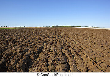 plowed soil - a newly plowed field in late summer at harvest...