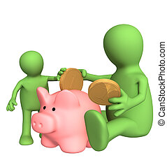 Adult and child together lowering coin in piggy bank. Object...