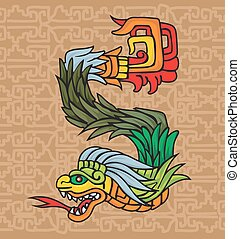 Mayan dragon, illustration - Mayan dragon, vector...