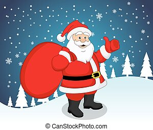 Santa Claus, illustration - Santa Claus carrying a red sack...