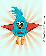 Super blue bird, illustration - Super blue bird, vector...