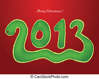 Snake in the form of a Christmas 2013. Vector illustration