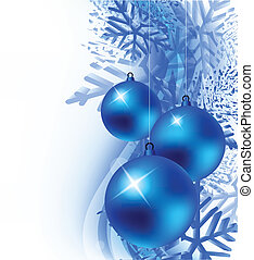 Xmas background with ball and snowflakes. Abstract...