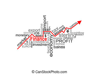 finance words - Word cloud concept illustration of money...