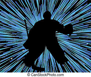 Hockey player silhouette with line background Vector...