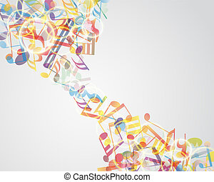 Multicolour musical notes staff background. Vector...