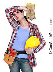 Tired woman laborer