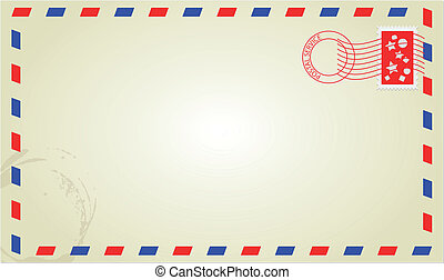 mail - illustration of old classic letter with postmark