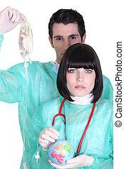 dos, cirujanos, Auscultating, globo