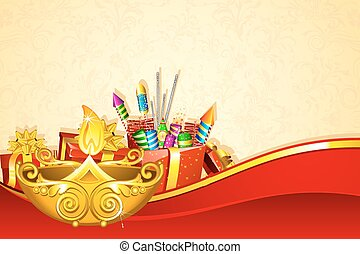 Diwali Gift Hamper - illustration of decorated diwali diya...