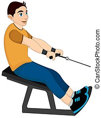 Exercising, man pulling weights, illustration