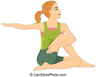 Exercising, woman doing stretching, illustration -...