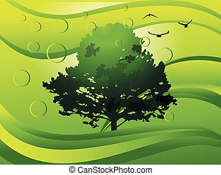 Environment, illustration - Environment, showing a tree,...