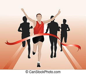 Runners crossing the finish line, illustration - Runners...