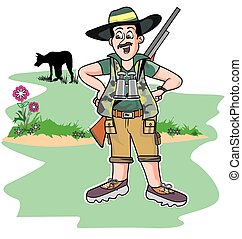 Safari hunter, illustration - Safari hunter, standing with a...