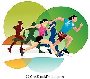 Running, illustration - Running, men and women running,...